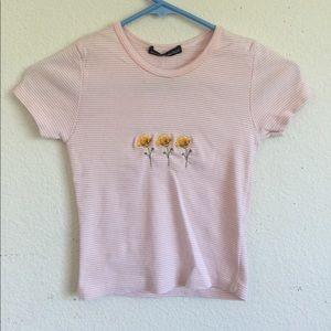 Brandy Melville peach/white Ashlyn poppy top